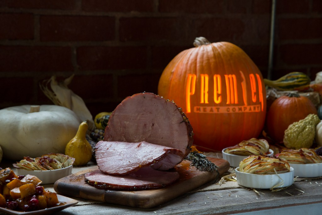 premier meat company thanksgiving table fall autumn bountiful meal ham smoked spiral roasted potatoes recipe thanksgiving ideas decorated roasted butternut squash order gift meat online