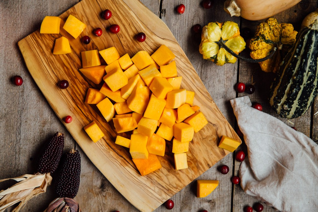 Honey Roasted Butternut squash recipe premier meat company raw squash with cranberries Thanksgiving side dish recipe
