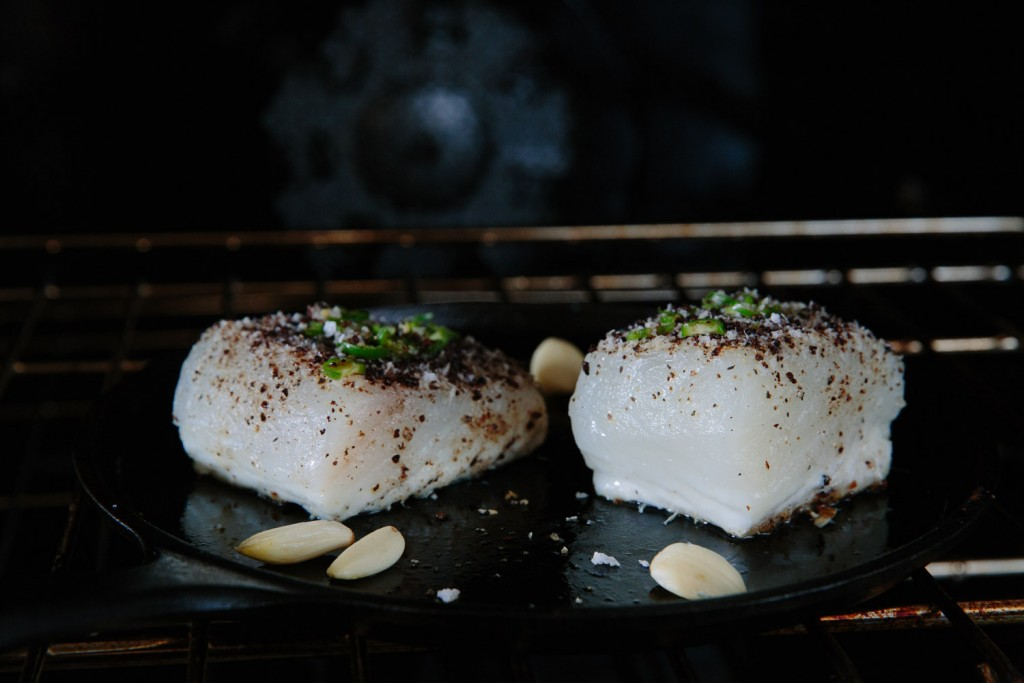 halibut fillets roasting in oven. fresh never frozen